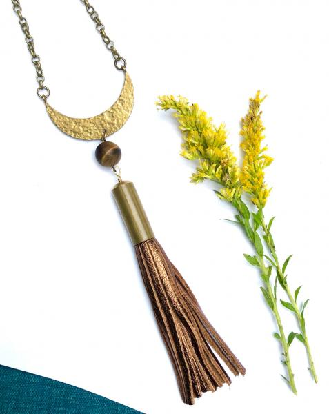 Long Boho Necklace with Tassel - Hammered Brass