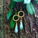 Green Moonstone Drops with Brushed Gold Rings