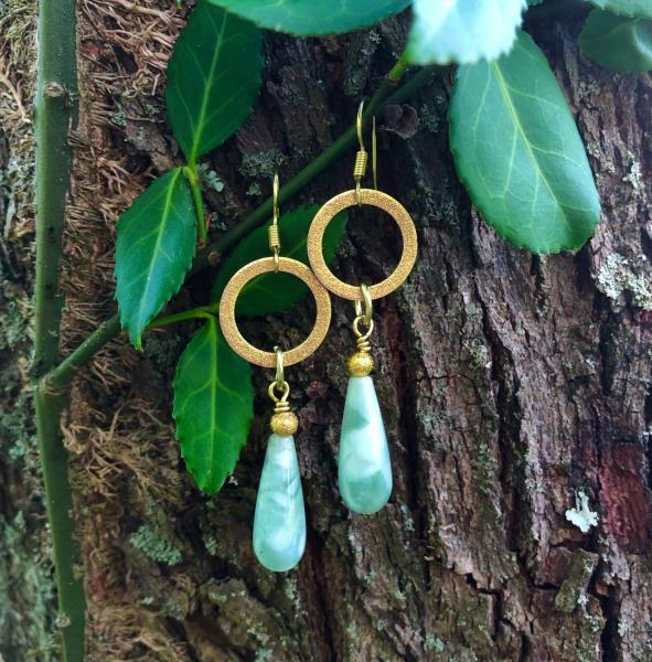 Green Moonstone Drops with Brushed Gold Rings picture