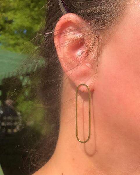 Simple Gold Oval Studs picture