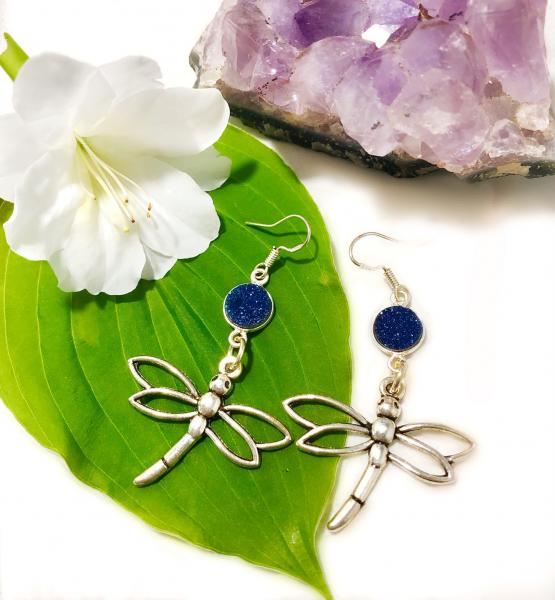 Silver Dragonfly with blue druzy