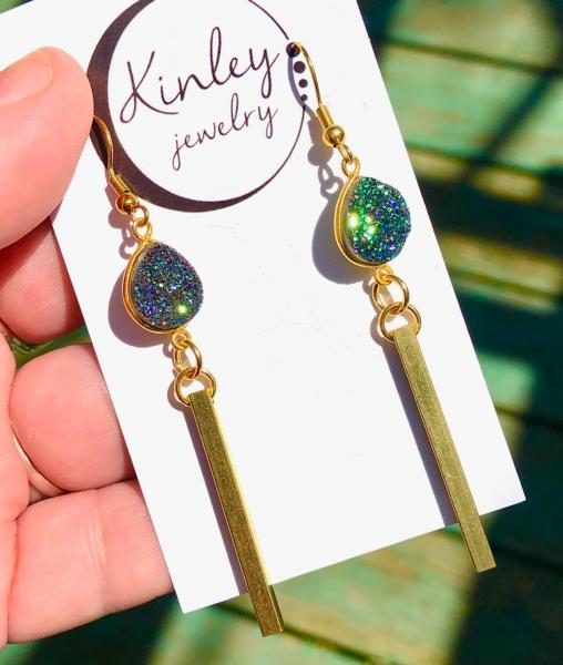 Green Druzy and Gold Bar Drops