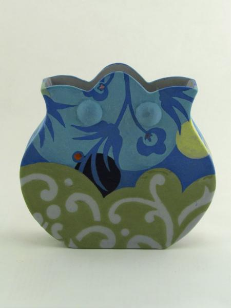 Blue Scallop-Top Vase