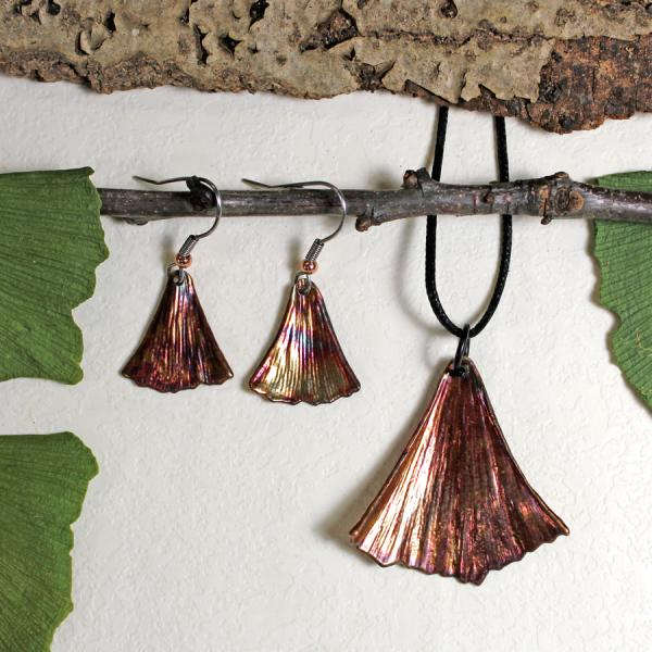 Ginkgo Pendant and Ginkgo Earrings