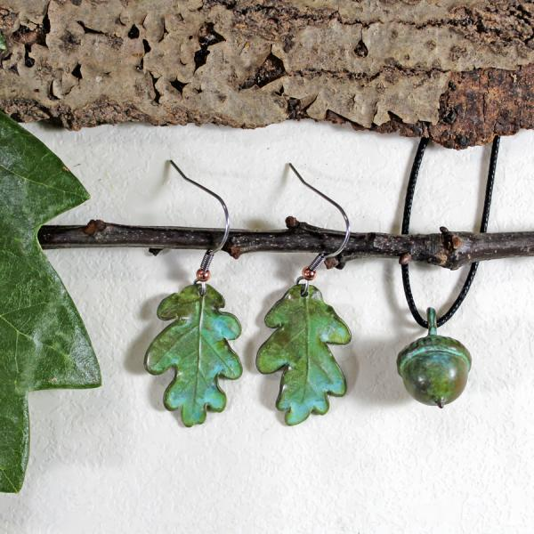 Oak Earrings and Acorn Pendant set.