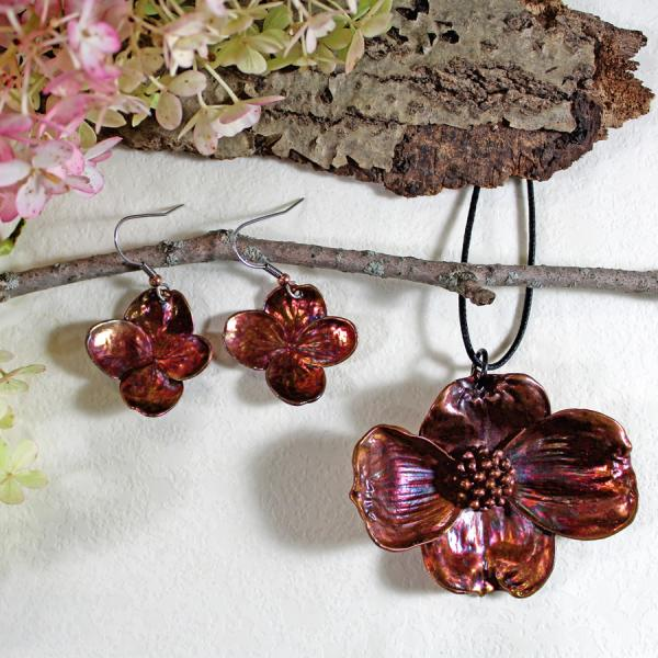 Dogwood pendant with hydrangea earrings