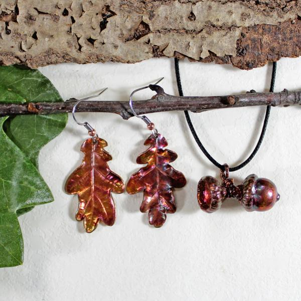 Acorn Pendant with Oak Earrings