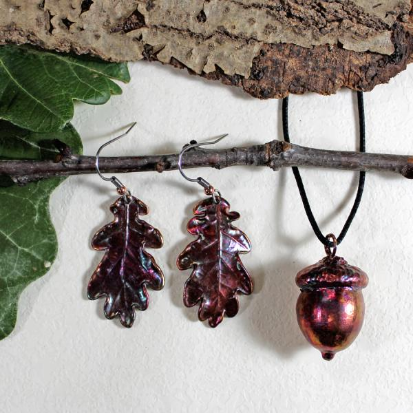 Oak Earrings and Acorn Pendant