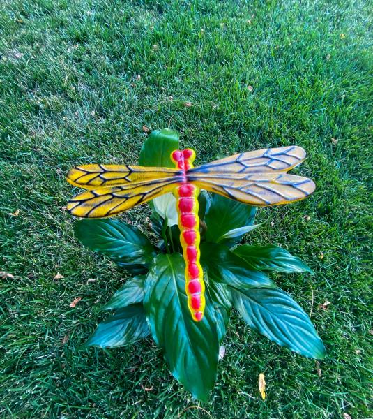 Fused Glass Dragonfly Stake - Large