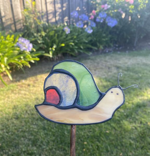 Stained Glass Snail Garden Stake
