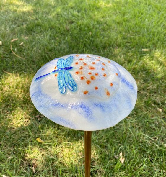 Fused Glass Mushroom Decor with dragonfly