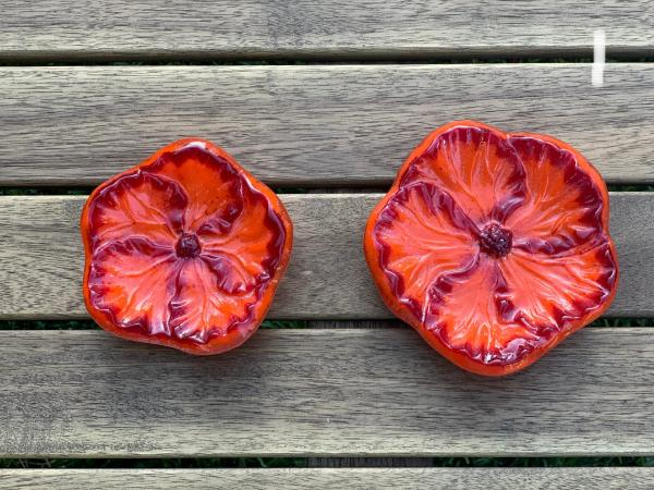 Fused Glass Hibiscus Flower Bowl picture