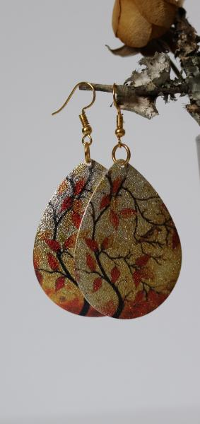 Orange Leaves Teardrop Earrings picture