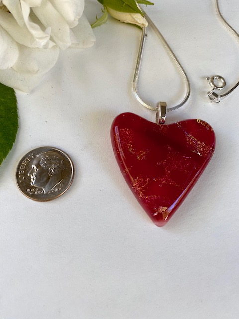 Deep Red Heart Necklace