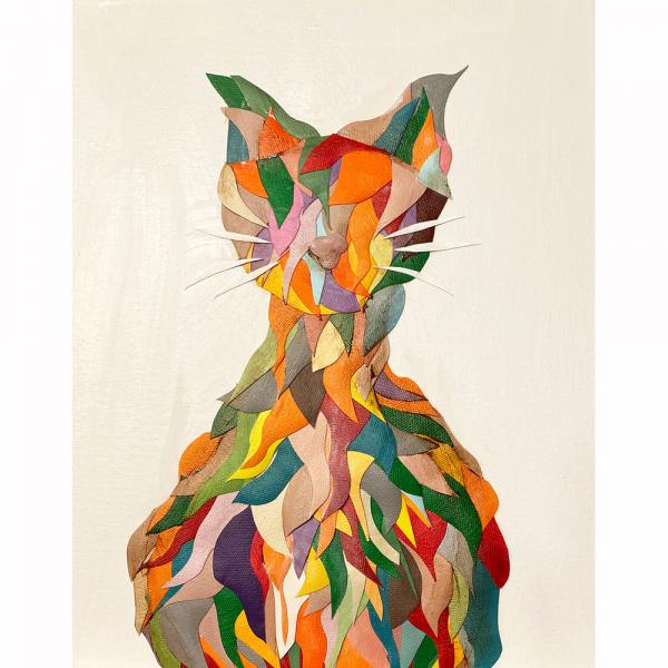 Wavy Multi Colored Cat on White picture