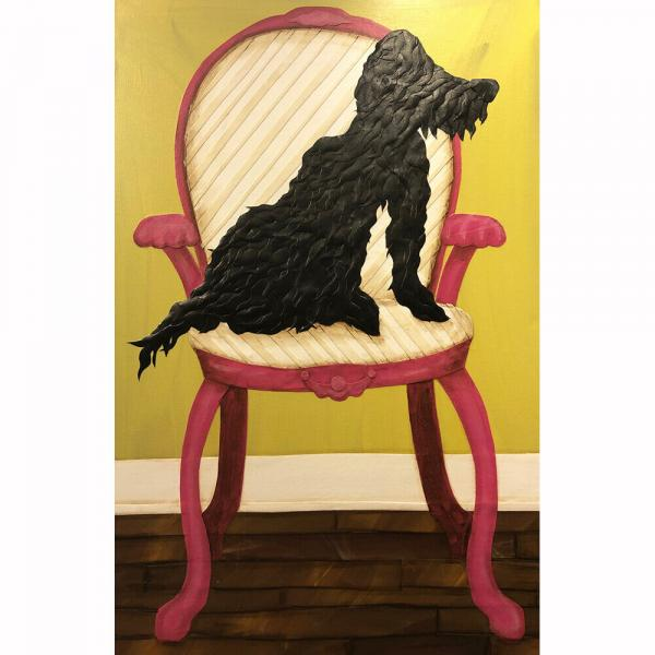 Black Dog in Pink Chair