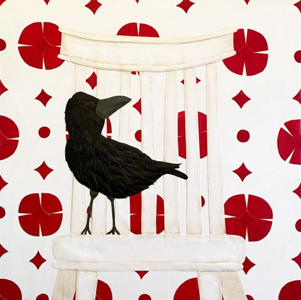 Crow on White Chair