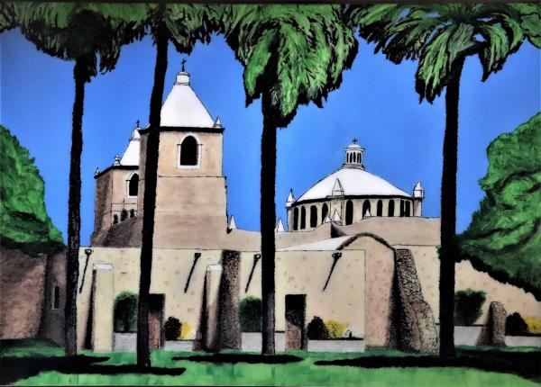 "Mission Concepcion, Acrylic Painting ""Print"" on paper matte"