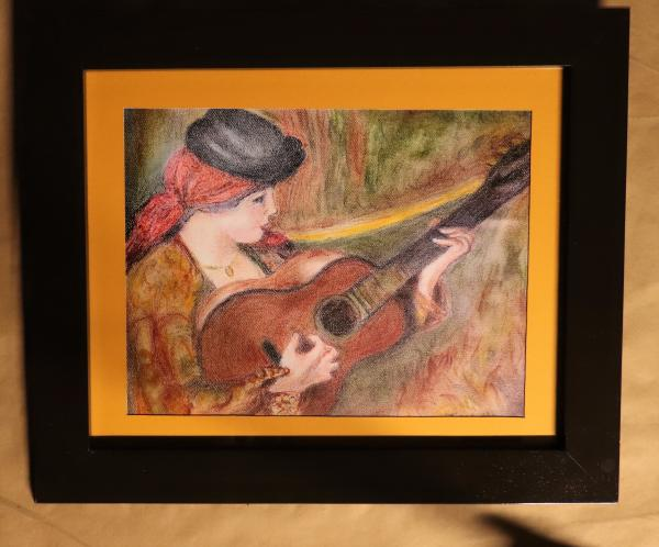 "Woman in Spanish Dress Holding a guitar, Renoir Reproduction in Pastel ""Print"" on canvas"