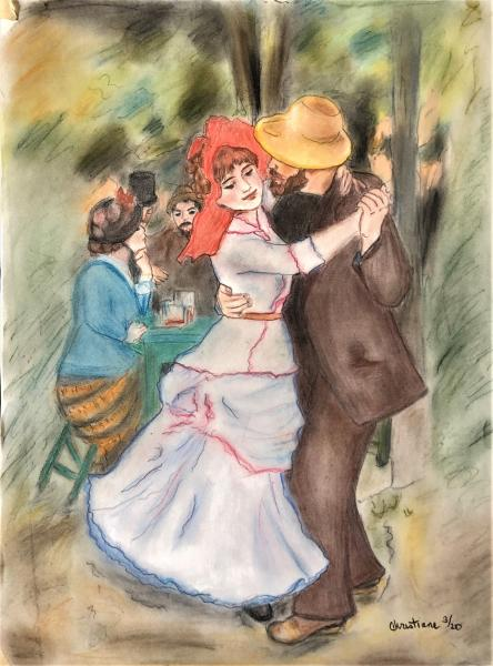 "Pastel Reproduction of Renoir, Dance at Bougival - ""Print"" on Paper Matte"