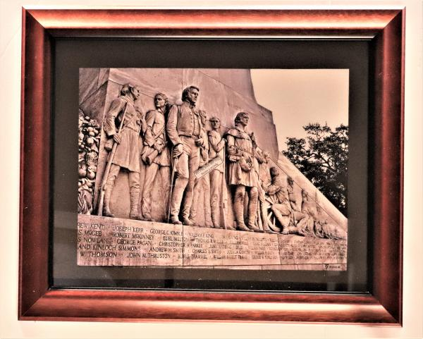 """Photography"", Travis and Crockett, West face of the Cenotaph at The Alamo - Print on Canvas"