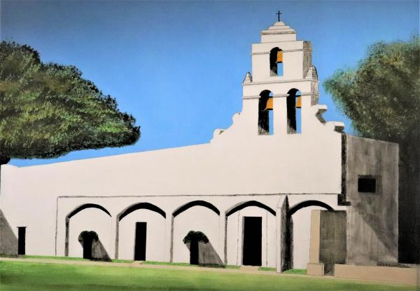 "Mission San Juan, Acrylic Painting ""Print"" on paper matte"