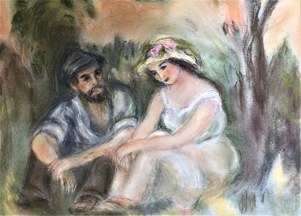 "Young Man Young Woman - Renoir Reproduction in Pastel ""Print"" on canvas"