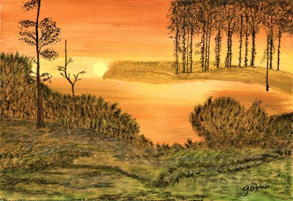 "Autumn Sunset, Acrylic Painting ""Print"" on paper matte"