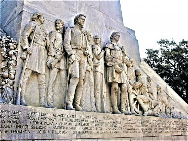 """Photography"", Travis and Crockett, West face of the Cenotaph at The Alamo - on Paper Matte"