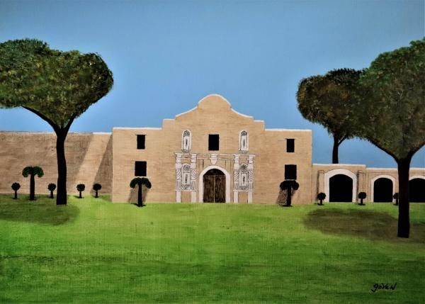 "The Alamo, Acrylic Painting ""Print"" on paper matte"
