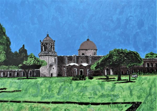 "Mission San Jose, Acrylic Painting ""Print"" on paper matte"