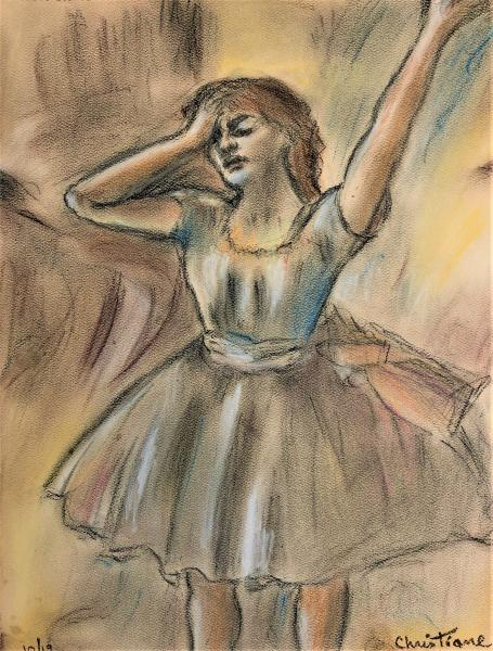 "Pastel Reproduction of Edgar Degas - Dancer Stretching -  ""Print"" on paper matte"
