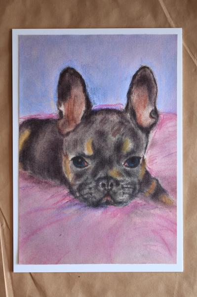 "COCO - French Bulldog, Pastel painting ""Print"" on canvas"