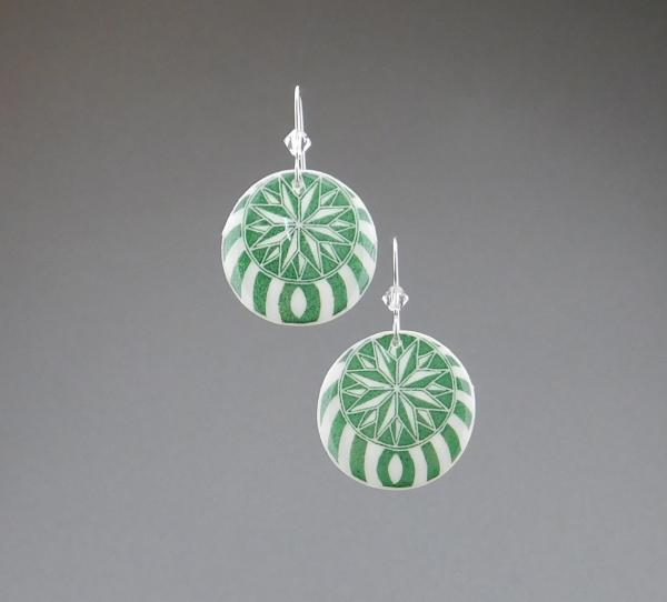 Goose Egg Shell Earrings- Green Nautilus