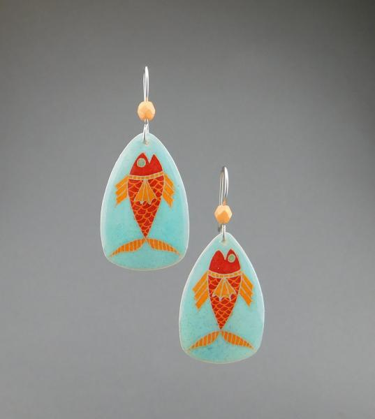 Goose Egg Shell Earrings- Blue Fish Large