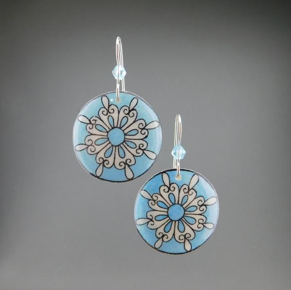 Goose Egg Shell Earrings- Blue Retro Flower