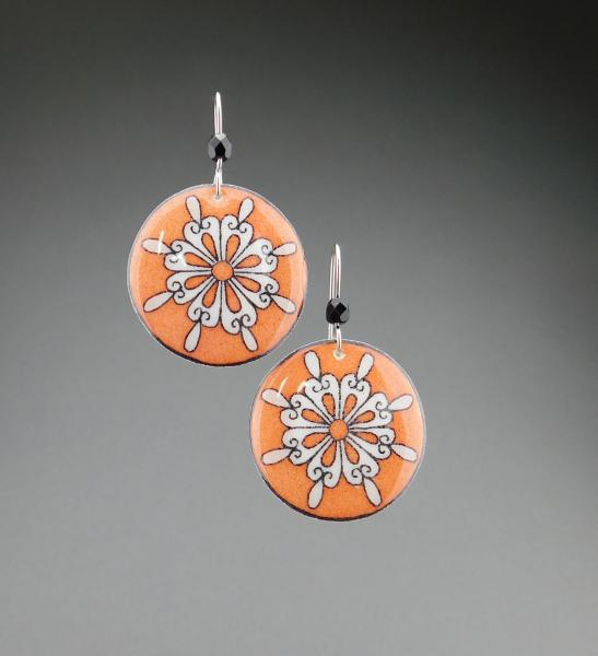 Goose Egg Shell Earrings- Orange Retro Flower