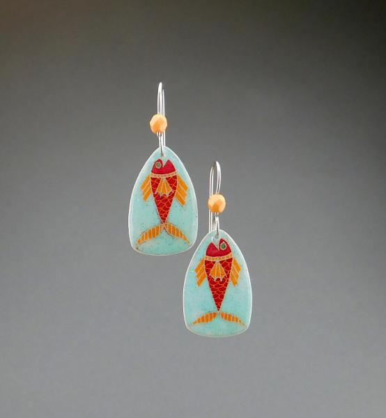 Goose Egg Shell Earrings- Blue Fish Small