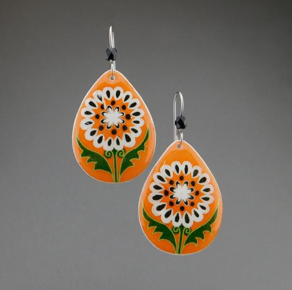 Goose Egg Shell Earrings- Orange White Flower Tears