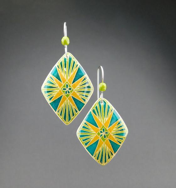 Goose Egg Shell Earrings- Green Flare picture