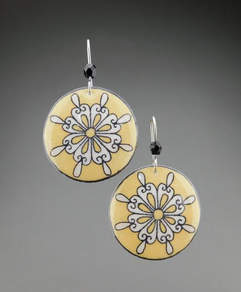 Goose Egg Shell Earrings- Yellow Retro Flower