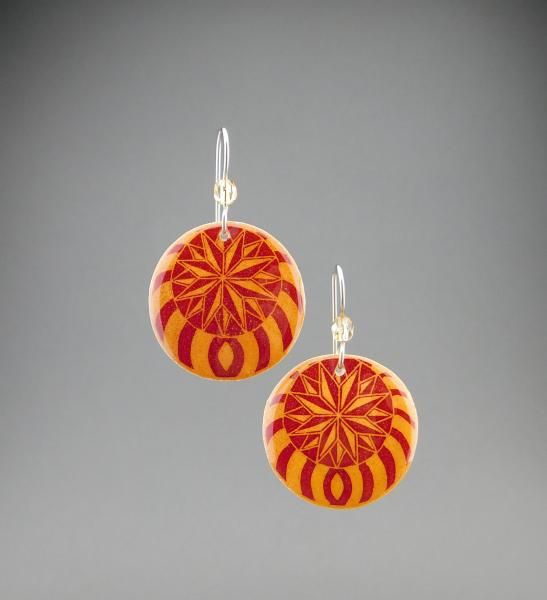 Goose Egg Shell Earrings- Red Nautilus