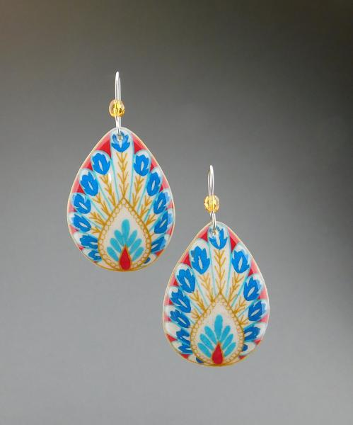 Goose Egg Shell Earrings- Red Peacock picture