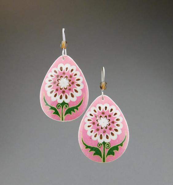 Goose Egg Shell Earrings- Pink White Flower Tears