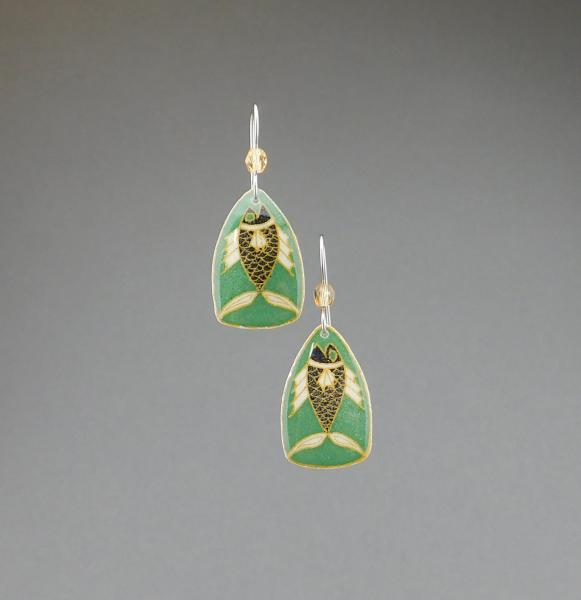 Goose Egg Shell Earrings- Green Fish Small picture