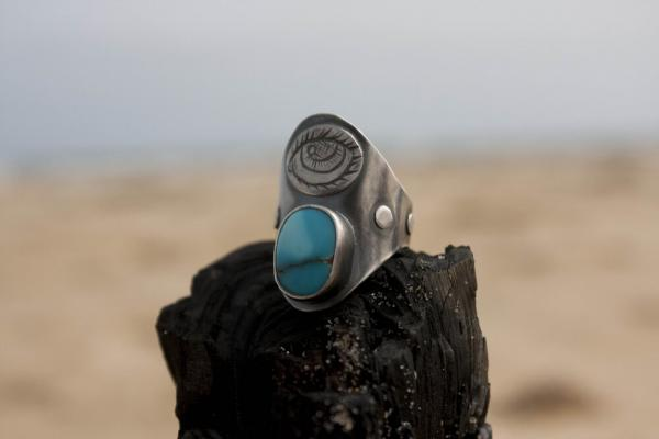 Lone Mountain Turquoise Saddle Ring with Eye Engraving