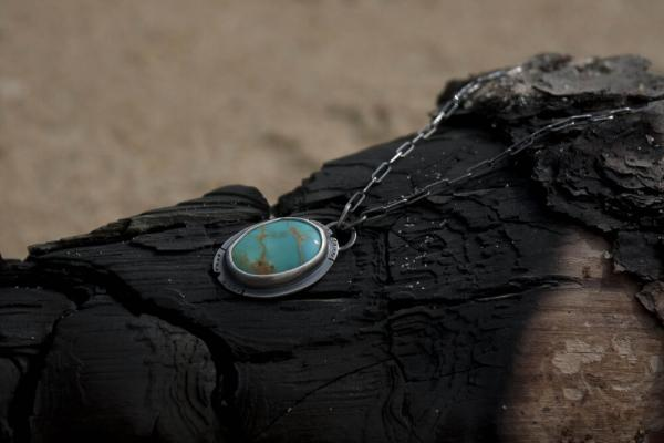 Kingman Turquoise Necklace with Engraved Eye