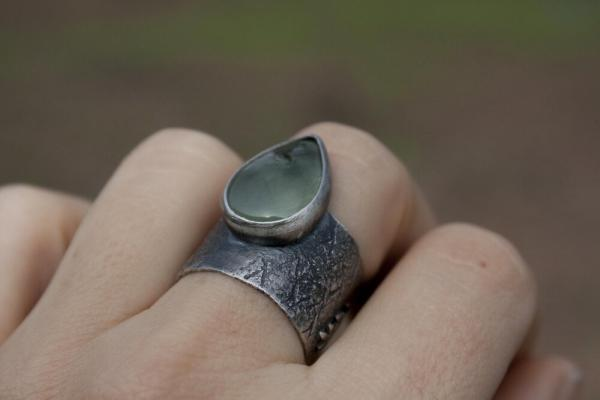 Fern Prehnite Scale Ring