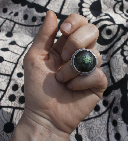 Enamel Purple and Green Orb Ring