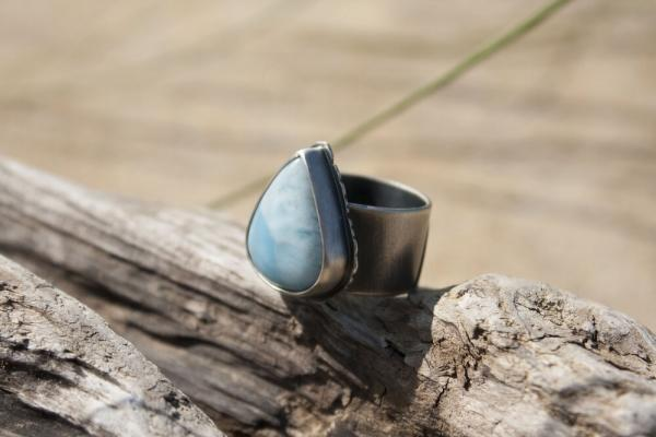 Larimar Teardrop Ring with Engraved Wave